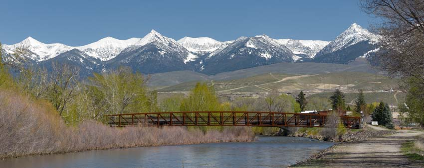 RV roadtrip bridge over Salmon River in Salmon Idaho