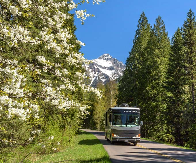 RV on Going to the Sun Road Glacier National Park Montana