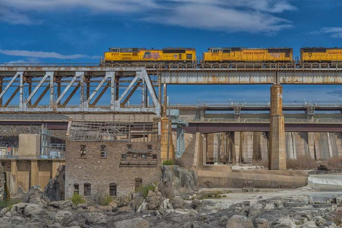 Train crossing bridge in American Falls Idaho