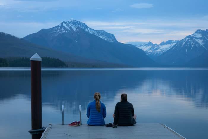 Dawn at Glacier National Park Montana Lake McDonald Apgar Village