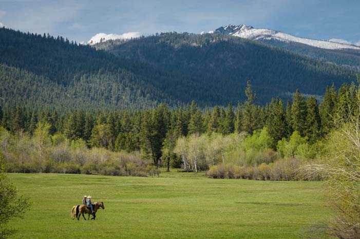 Riding horses in the Bitterroot Valley of Montana