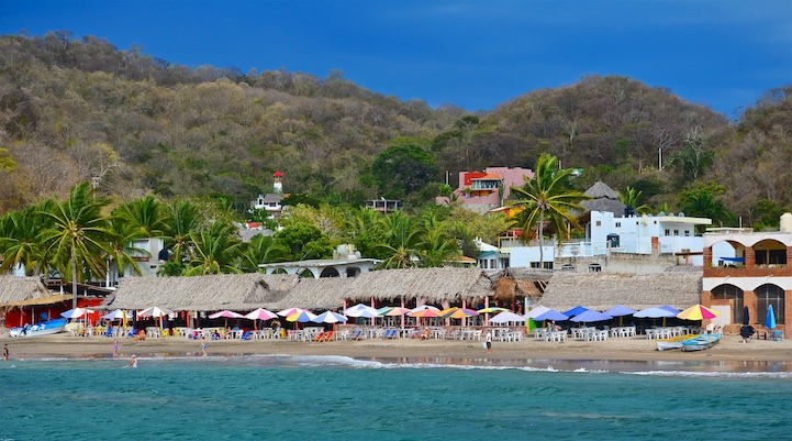 Cuastecomate view of the beach Mexico Costalegre