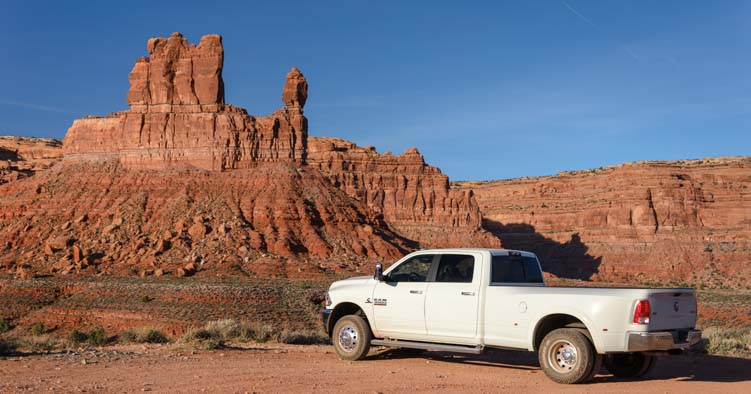 2016 Dodge Ram 3500 Dually truck in Valley of the Gods Utah