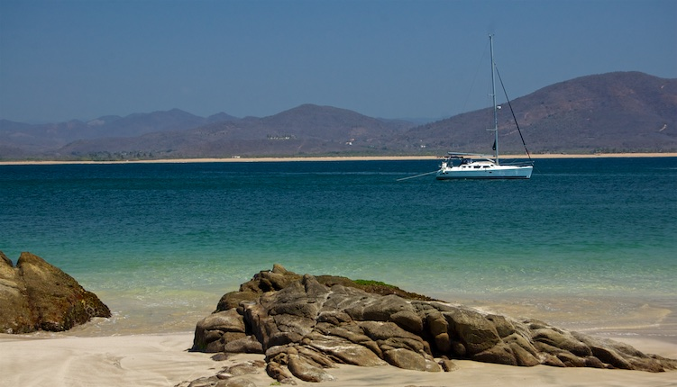 Sailboat anchored in Chamela Bay Gold Coast Mexico Costalegre