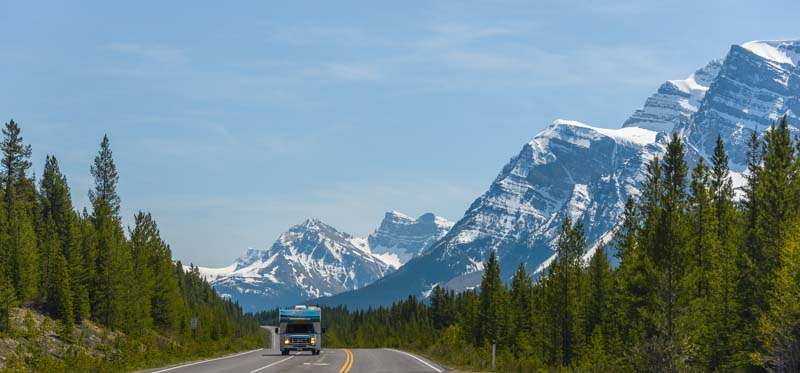 RV travel Icefields Parkway Banff National Park Canadian Rocky Mountains