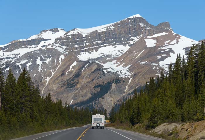 RV on Icefields Parkway Banff National Park Canada Rocky Mountains
