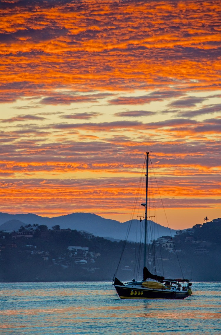 Sailboat at Sunset Santiago Bay Manzanillo Mexico on the Costalegre