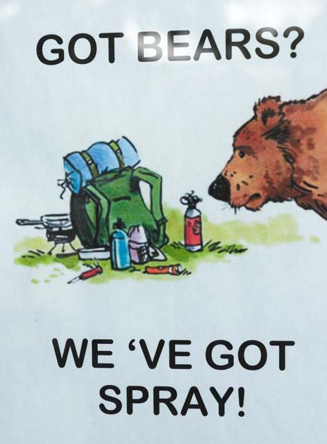 Bear spray sign