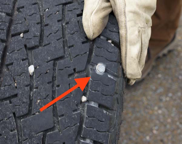 Flat tire on a dually pickup