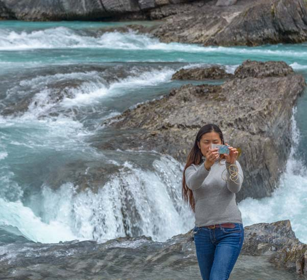 Selfie Natural Bridge Yoho National Park British Columbia Canada