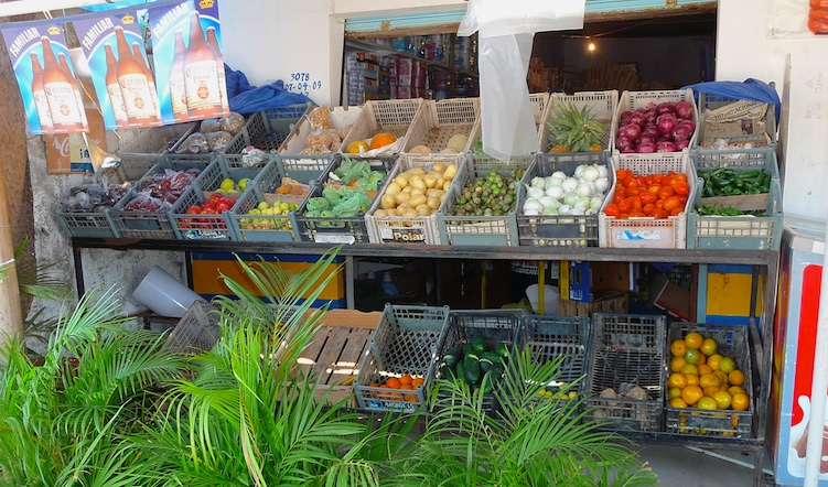 Fresh produce was available at many small markets.