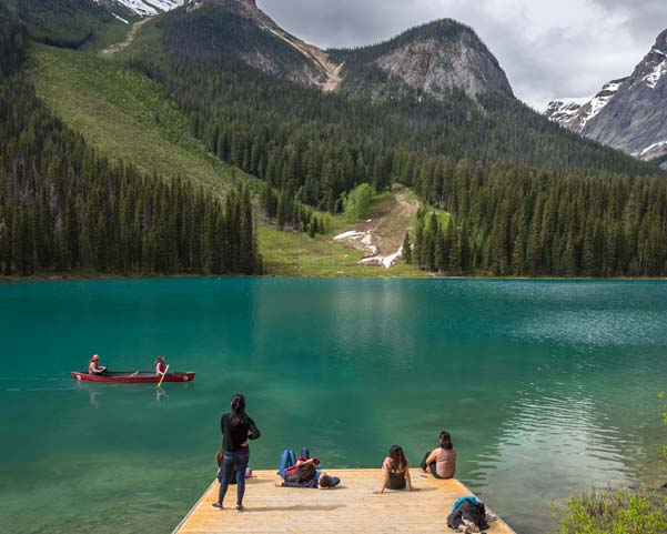 Emerald Lake sunbathing Yoho National Park British Columbia Canada