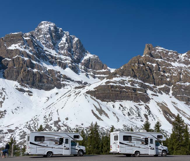 RV parking on Icefields Parkway to Jasper Banff National Park Canada Rockies
