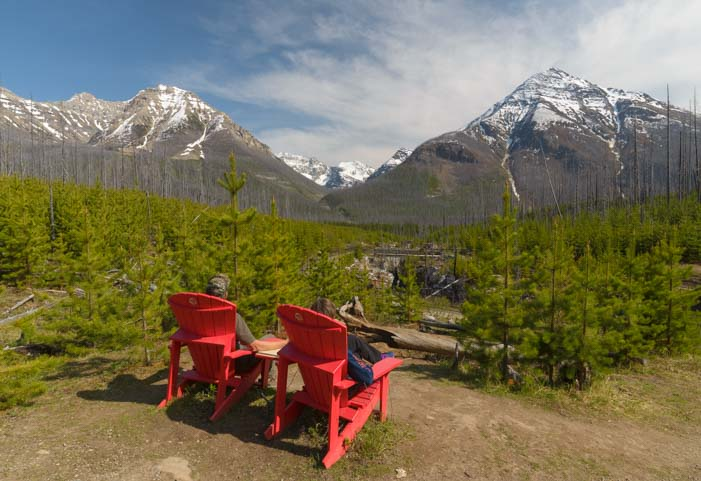 Red chairs Marble Canyon Kootenay National Park BC Canada