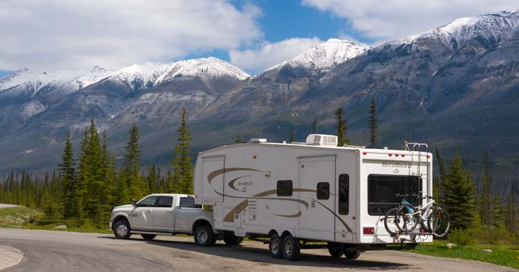Fifth wheel RV in Kootenay National Park British Columbia Canada