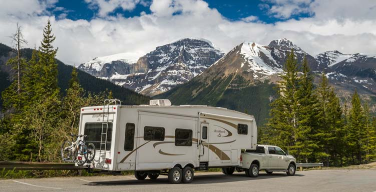 Fifth wheel RV on the Icefields Parkway Banff National Park Canada