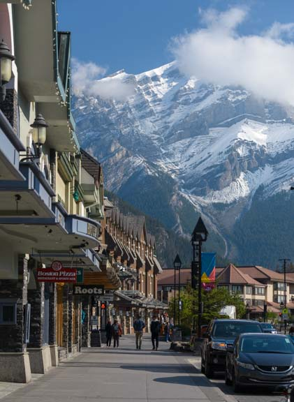 Banff Avenue and Cascade Mountain Alberta Canada
