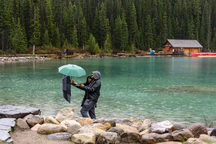 Lake Louise Alberta Canada Selfie in the rain