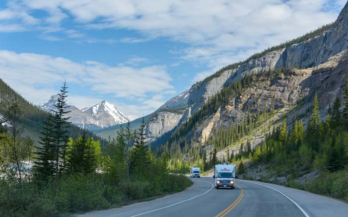 RV travel Icefields Parkway Jasper National Park Alberta Canada