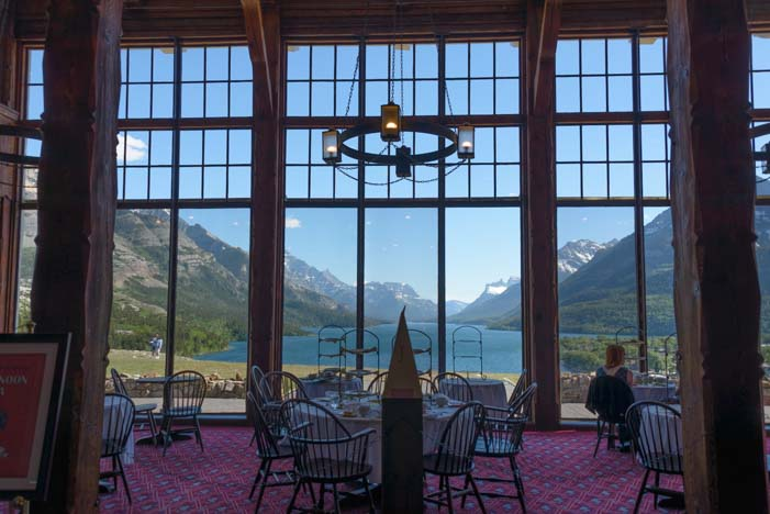 Picture windows Prince of Wales Hotel Waterton Lakes National Park Alberta Canada