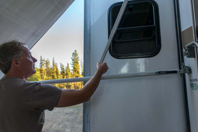 How to set up RV awning - Pull awning arm out