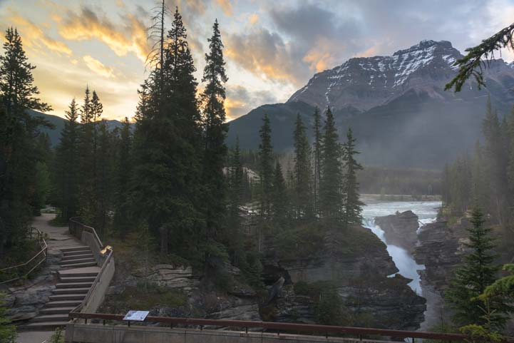 Dawn Athabasca Falls Jasper National Park Alberta Canada Rocky Mountains