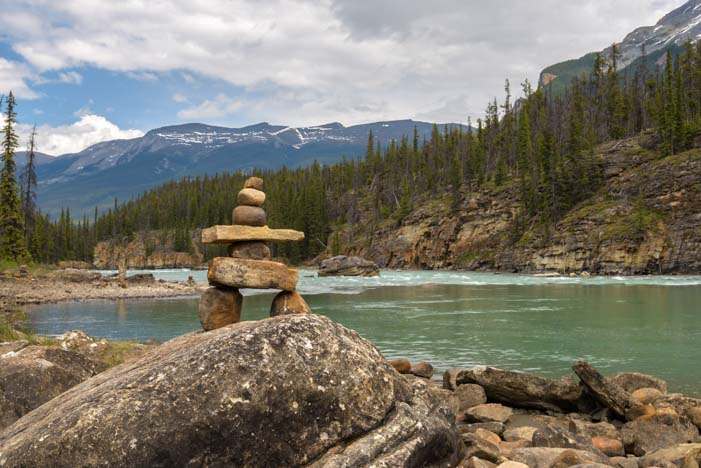 Rock cairns Athabasca Falls Jasper National Park Alberta Canada Rocky Mountains