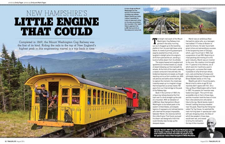 Mt Washington Cog Railway Trailer Life Magazine August 2016