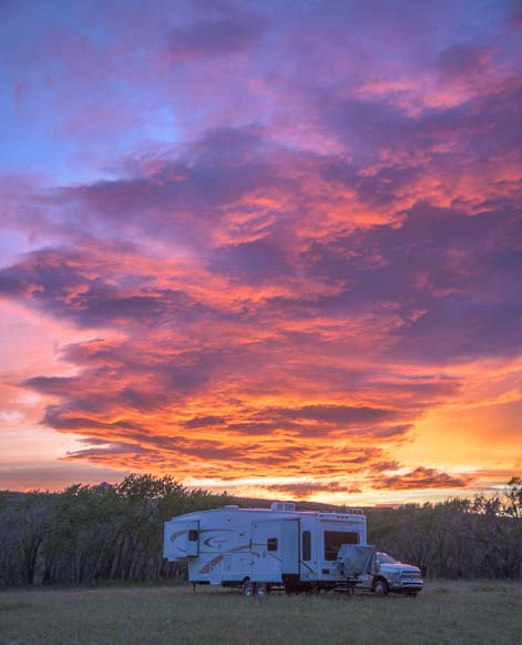 RV at sunset in Montana
