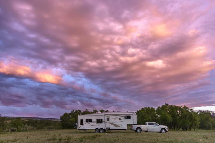 RV at sunset Glacier National Park Montana