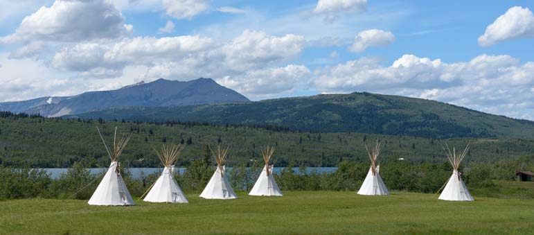 Indian Teepees in East Glacier Montana