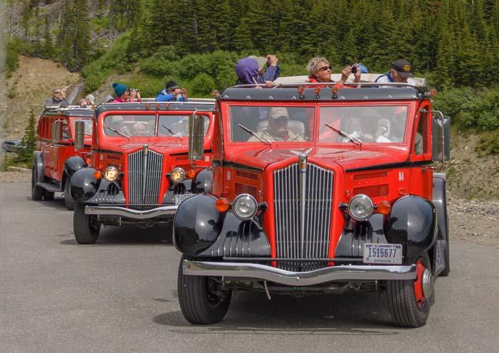 Three Red Bus Tours Glacier National Park Montana