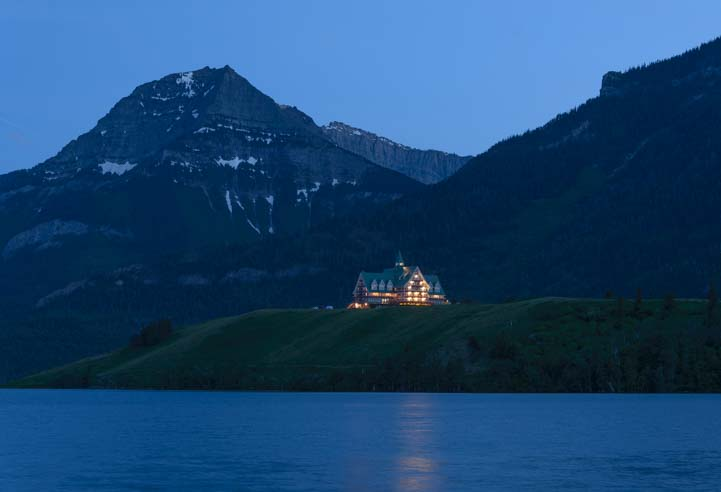 Prince of Wales Hotel at night Waterton Lakes National Parks Canada