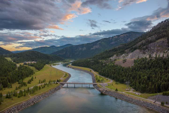 Kootenai River dusk Libby Montana