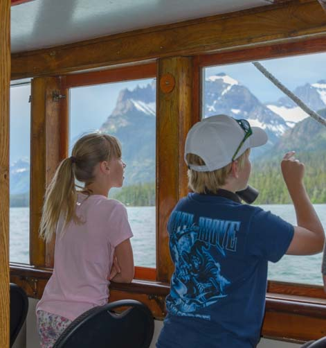 Kids on Waterton Shoreline Cruise Waterton Lakes National Park Canada