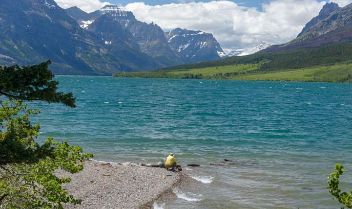 Sitting at Saint Mary Lake Glacier National Park Montana