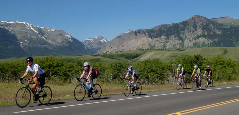 Cyclists Waterton Lakes National Parks Canada