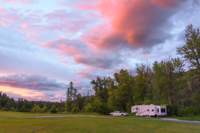 RV at sunset Montana