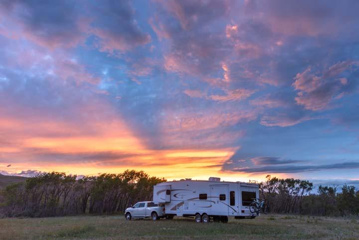 RV in sunset Glacier National Park Montana