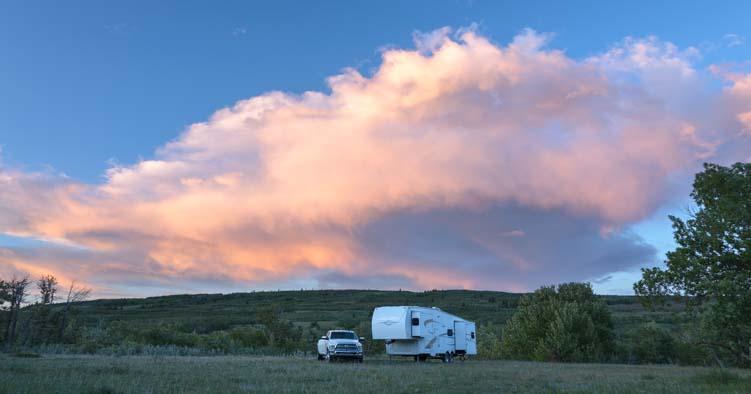 RV Sunset Glacier National Park Saint Mary Montana
