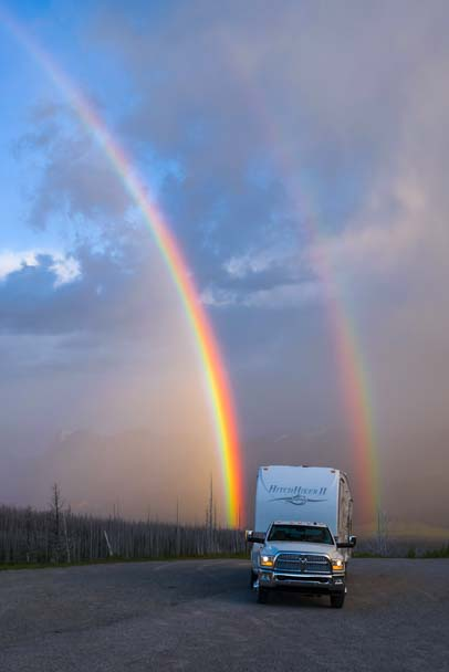 RV in a double rainbow Montana