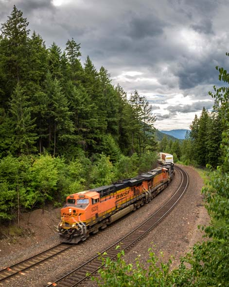 Railway train at Kootenai Falls Montana