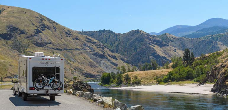 RV on a river in Idaho
