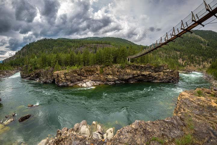 Kootenai Falls and swinging bridge Montana