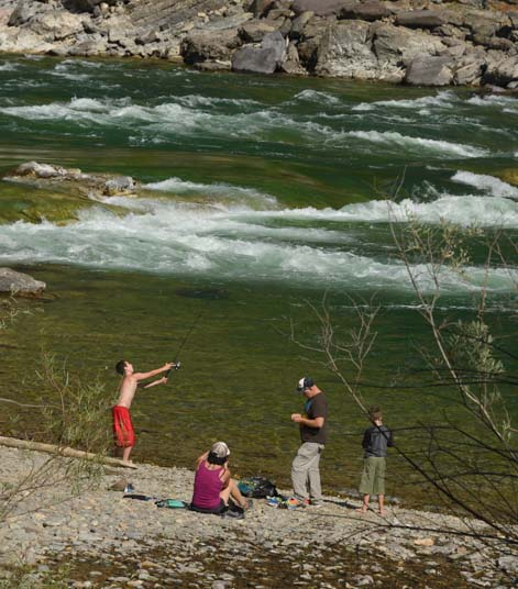 Fishing on the Kootenai River at Kootenai Falls Montana