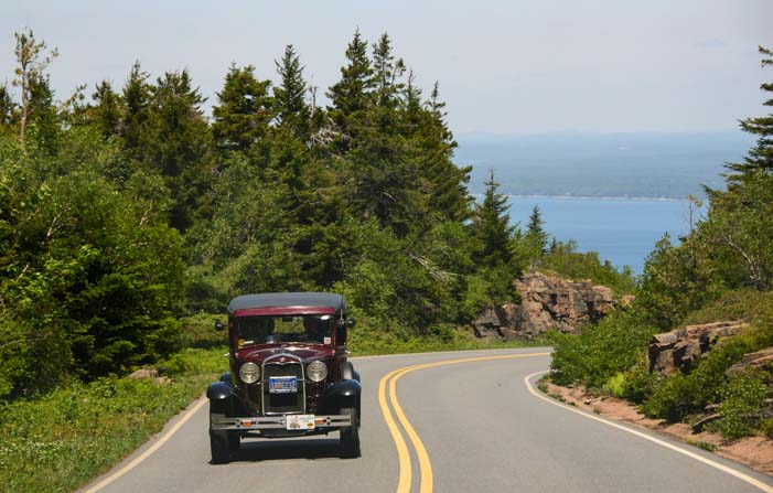Model A car climbing Cadillac Mountain Acadia National Park Maine