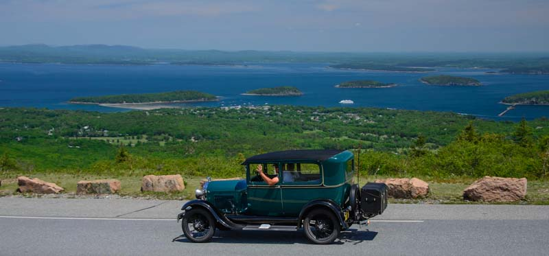 Model A Car on Cadillac Mountain Acadia National Park Maine