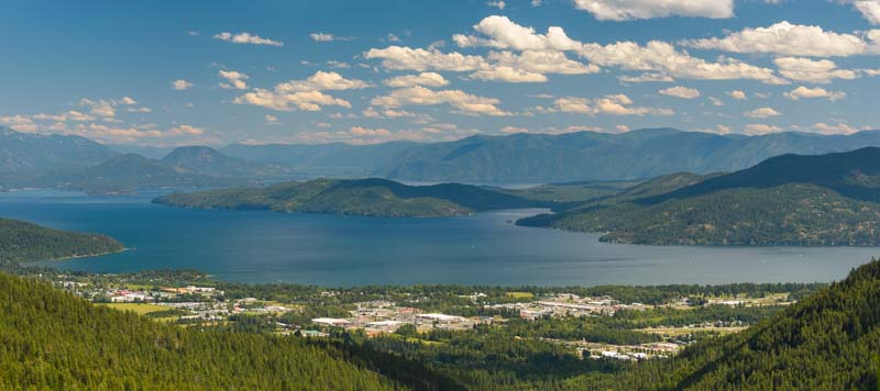 Schweitzer Mountain Ski Resort view of Lake Pend Oreille Sandpoint Idaho