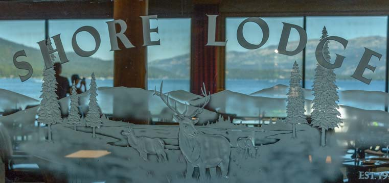 Shore Lodge dining room etched glass sign McCall idaho