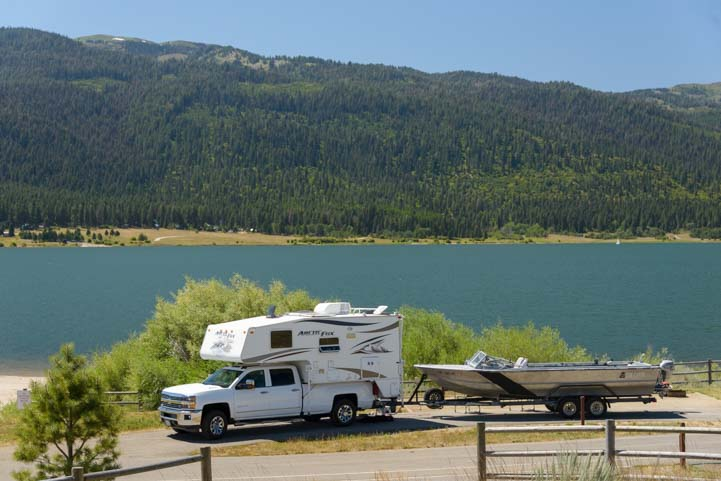 Truck camper and boat at Lake Cascade Idaho